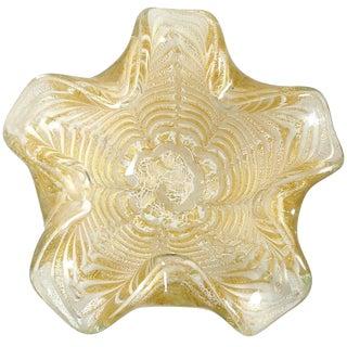 Ercole Barovier Murano White Gold Flecks Italian Art Glass Flower Bowl For Sale