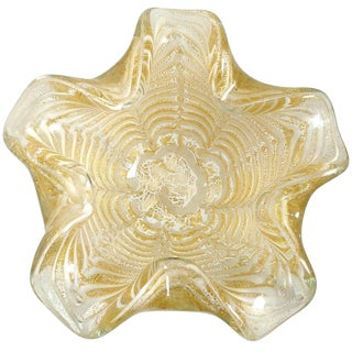 Ercole Barovier Toso Murano White Gold Flecks Italian Art Glass Mid Century Flower Bowl For Sale