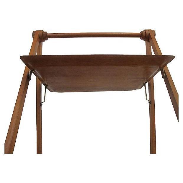 Danish Mid-Century Modern Folding Teak Bar Cart - Image 5 of 7