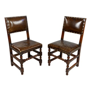 Spanish Revival Brown Leather Upholstered Dining Chairs - Set of 2 For Sale