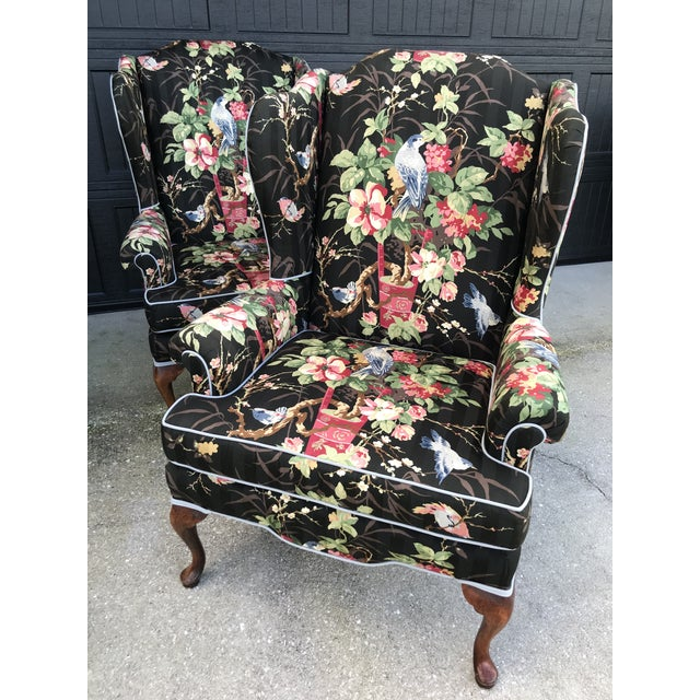 Chinoiserie Upholstered Wing Bach Chairs For Sale - Image 13 of 13