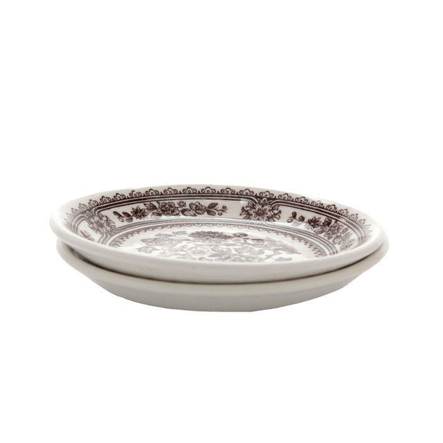"""English Small English Ironstone Brown Transferware Plated """"Dorset"""" by Wood & Sons, Pair For Sale - Image 3 of 8"""