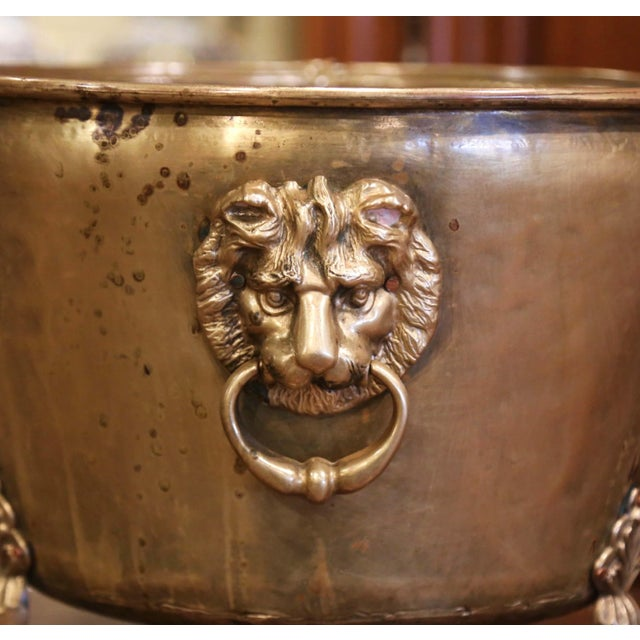 Figurative 19th Century French Brass Cache-Pot Planter With Lion Head Handles For Sale - Image 3 of 9
