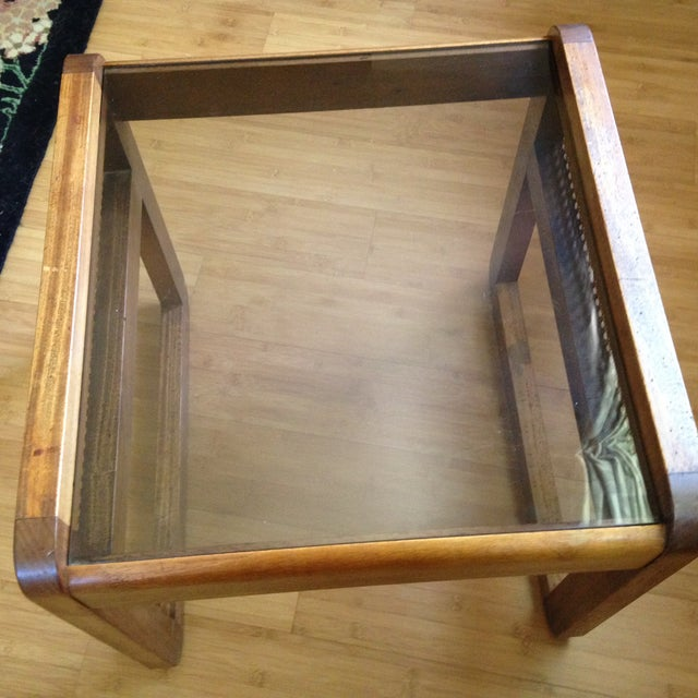 Teak and Rattan Side Table - Image 5 of 8