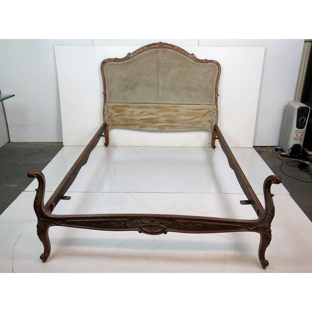 French Louis XV Style Twin Carved Caned Back Bed - Image 2 of 6