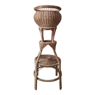 Vintage Wicker Basket & Plant Stand For Sale