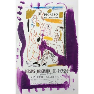 Abstract Framed Picasso Poster Painting by Sean Kratzert 'Purple Royals' For Sale