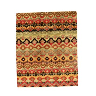 Early 21st Century Vintage Tribal Ikat Area Rug - 8′ x 9'9″ For Sale