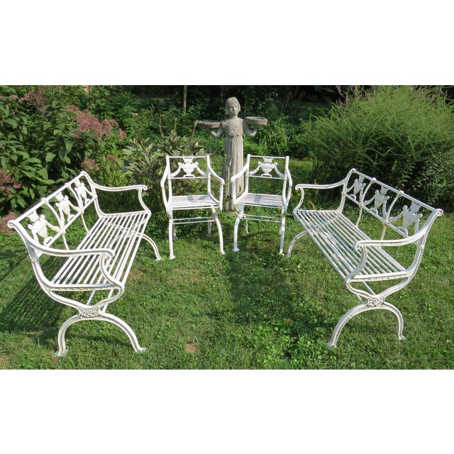 Cast Iron 1900s Karl Friedrich Schinkel Style Neoclassical Cast Iron Patio Suite - 4 Pc. Set For Sale - Image 7 of 13