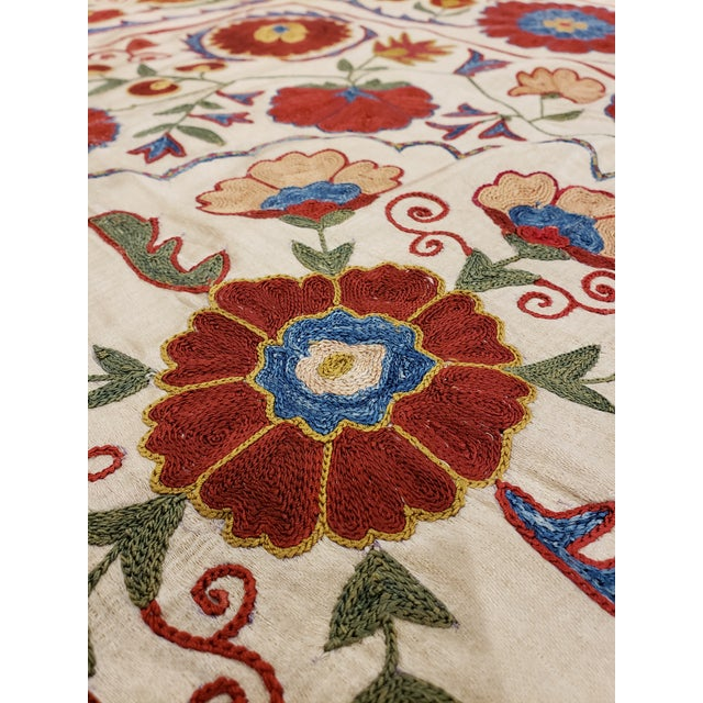 20th Century Asian Suzani Textile Rug - 3′3″ × 3′4″ For Sale In New York - Image 6 of 9