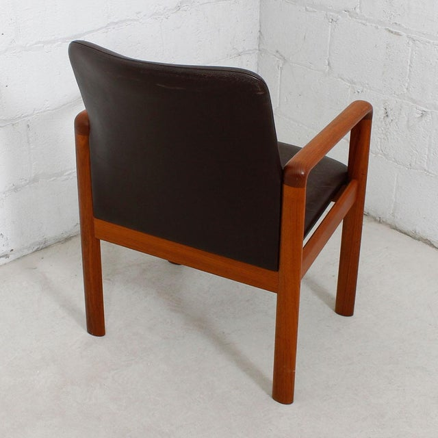 Danish Modern Teak & Distressed Leather Arm Chair For Sale - Image 4 of 7