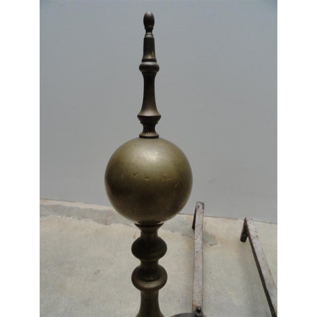 Mid 19th Century Antique American Brass & Iron Andirons - A Pair For Sale - Image 5 of 7
