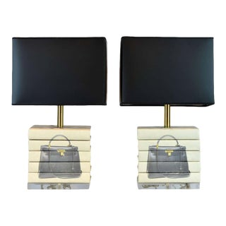Late 20th Century Custom Book Lamps Depicting Hermes Handbag on Lucite Bases - a Pair For Sale