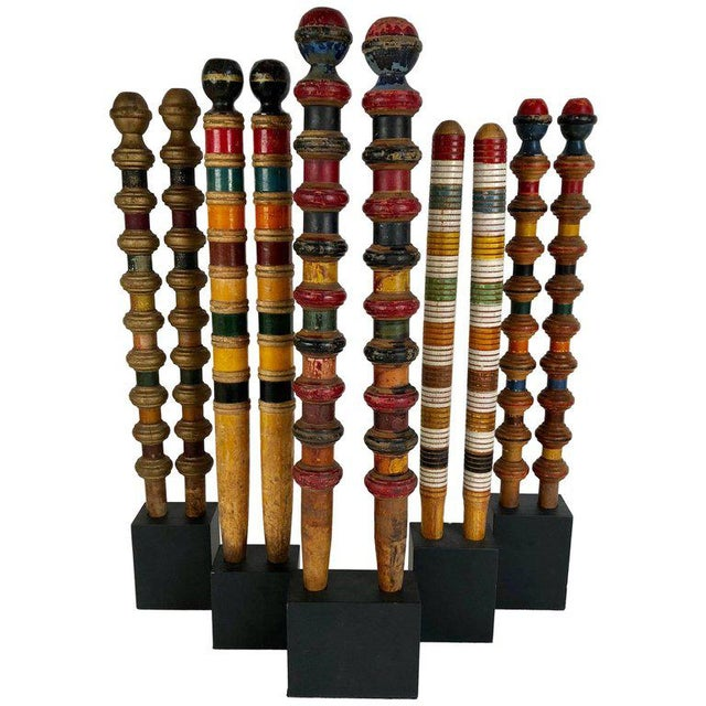 Antique and Vintage Colorful Croquet Posts in Custom Block Stands - Set of 10 - Image 11 of 11