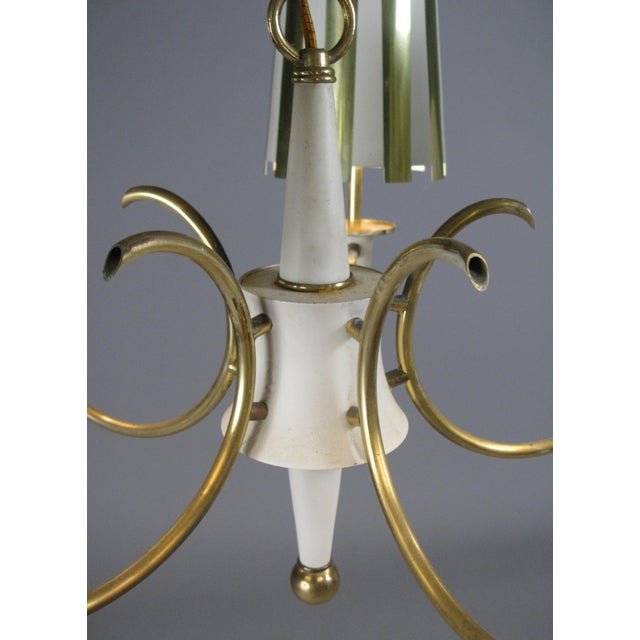 Mid-Century Modern 1960s Brass & White Lacquer Five-Light Chandelier For Sale - Image 3 of 6