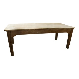 English Scrubbed Table With One Drawer and Porcelain Knobs For Sale