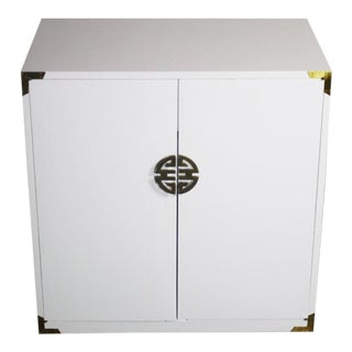 Asian Hollywood Regency White Cabinet with Brass Accents For Sale