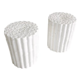 Pair of White Ceramic Faux Bamboo Style Round Salt & Pepper Set For Sale