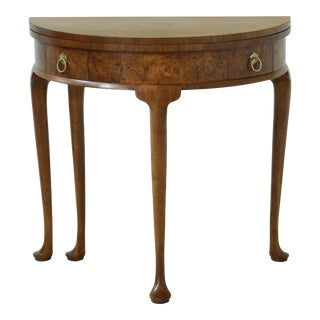 Baker George I Style 1/2 Round Walnut Hall Table For Sale