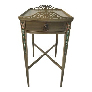Antique French Side Table With Floral Details and Scalloped Pie-Crust Edge For Sale