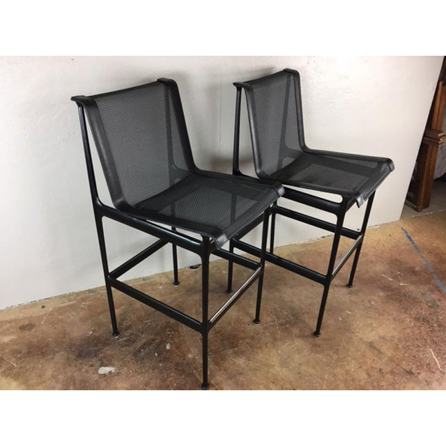 Sold in pairs, these original Richard Schultz bar stools are in exceptional condition. Barely used, these tightly woven...