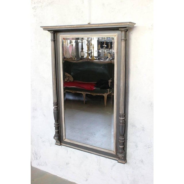 Glass French 19th Century Carved Columned Mantel Mirror For Sale - Image 7 of 11