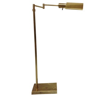 Walter Von Nessen Brass Swing Arm Floor Lamp