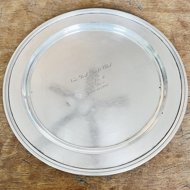 A beautiful vintage circa 1928 sterling silver tray made by Tiffany & Co and engraved on the front center to read: New...