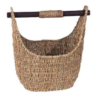 Rustic Indonesian Seagrass Basket Tote For Sale