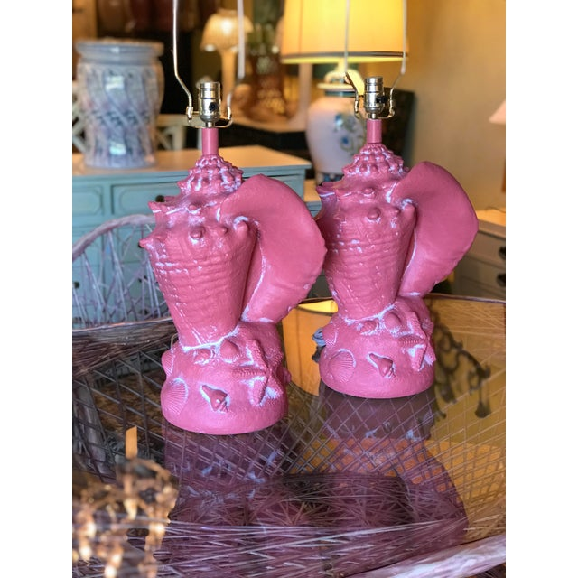 Coastal Regency Large Coral Conch Shell Lamps-A Pair For Sale - Image 11 of 12