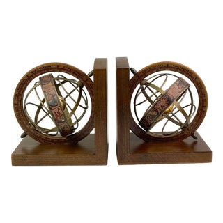 Mid-Century Modern Old World Globe Wood Bookends - Pair of 2 For Sale