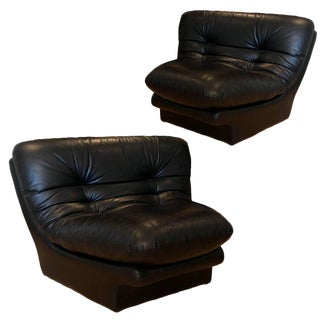Preview Wedge Ruched Leather Lounge Chairs - A Pair For Sale
