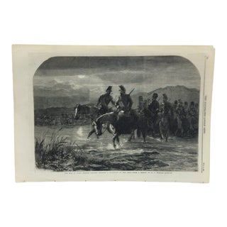 """1859 Antique """"The War in Italy - French Cavalry Crossing a Tributary of the Adda"""" The Illustrated London News Print For Sale"""