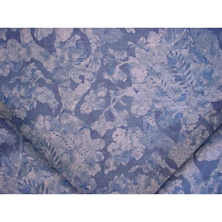 3-3/4y Zoffany 320820 Carrera Indigo Blue Print Floral Damask Upholstery Fabric For Sale