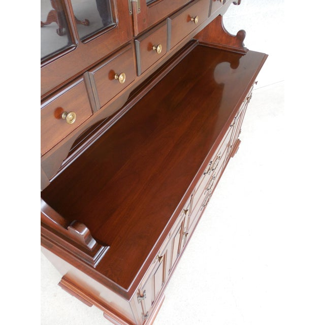 Frederick Duckloe & Bros Solid Cherry Chippendale Style China Pewter 2pc Cabinet For Sale - Image 5 of 13