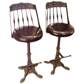 Cast Iron & Leather Bar Stools - a Pair