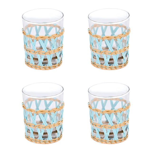 Light Blue Seagrass Wrapped Tumblers - Set of 4 - Image 3 of 3