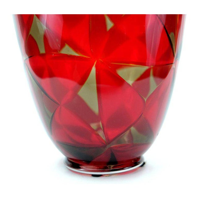 Early 21st Century Barovier & Toso Red Mosaic Triangle Murano Glass Vase For Sale - Image 5 of 7