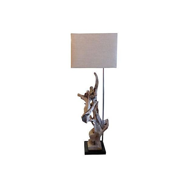 """Floor lamp crafted from an old piece of driftwood. Large custom shade made of linen. Shade, 17""""W x 19""""W x 17""""D. 52.5""""H to..."""