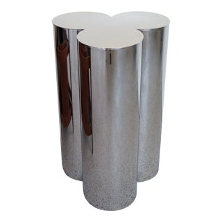 Pair of Stainless Steel Pedestals by Mastercraft For Sale