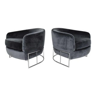 Milo Baughman Gray Velvet Club Chairs - a Pair For Sale