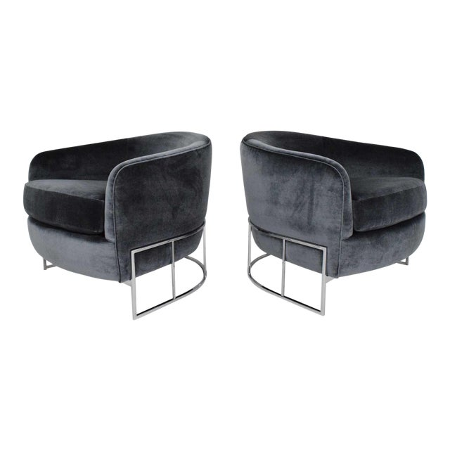 Milo Baughman Gray Velvet Club Chairs - a Pair For Sale