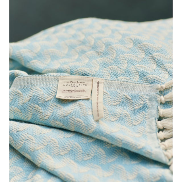Textile Silent Ripple Handmade Organic Cotton Towel in Powder Blue For Sale - Image 7 of 9