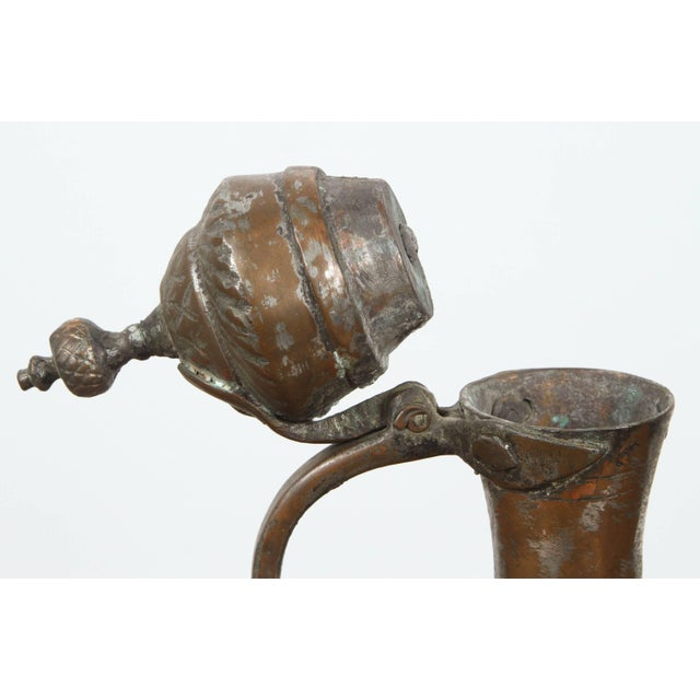 Islamic Middle Eastern Persian Tinned Copper Ewer For Sale - Image 3 of 6