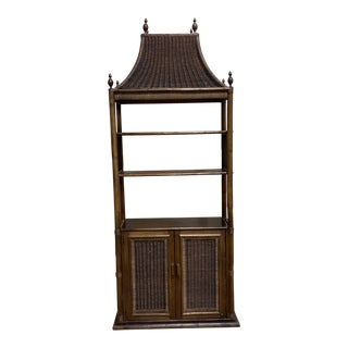Walnut and Wicker Pagoda Etageres Cabinet For Sale
