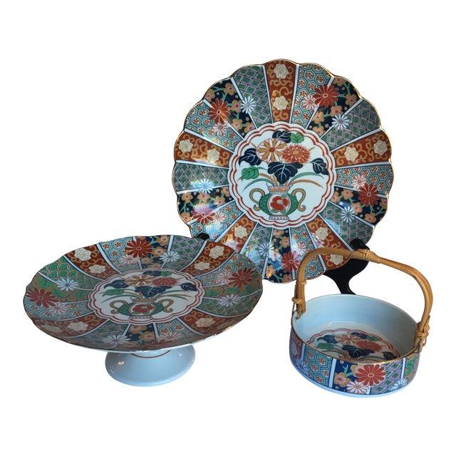 Japanese Imari Porcelain Serving Dishes - Set of 3 For Sale
