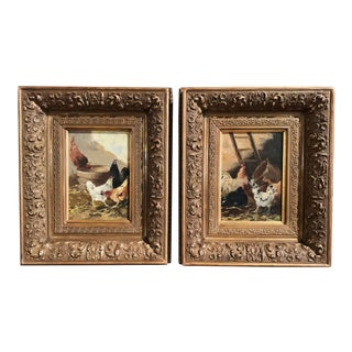 19th Century Chicken Paintings in Gilt Frames Signed E. Coppenolle - a Pair For Sale