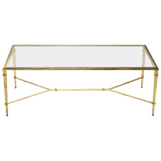 Robert Thibier Gilt Wrought Iron Coffee Table, 1960s For Sale