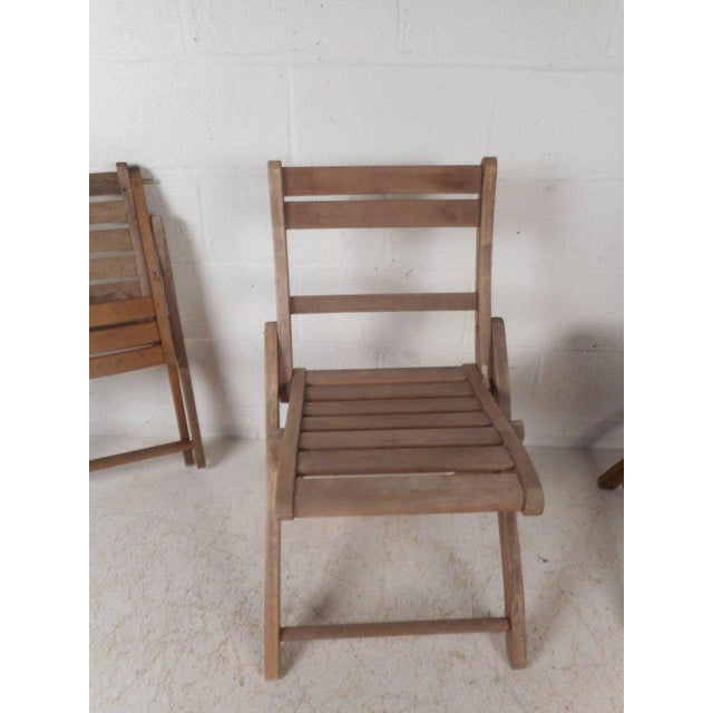 Vintage Modern Wood Folding Chairs - Set of 5 For Sale In New York - Image 6 of 11
