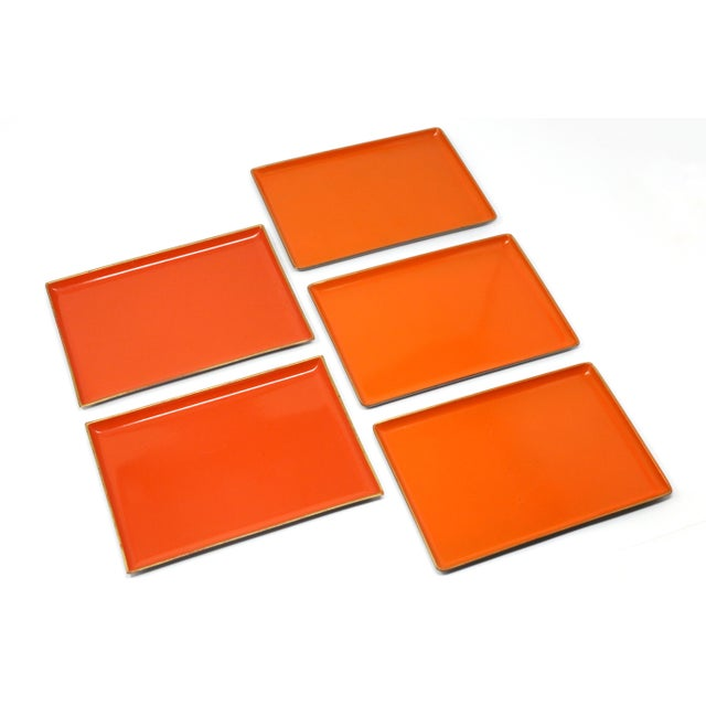 Vintage Orange Lacquered Trays - Set of 5 For Sale In Tampa - Image 6 of 11